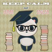 "Quote ""Keep calm and learn English"" with panda — Stock Vector"
