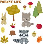Forest life icons set — Stock Vector
