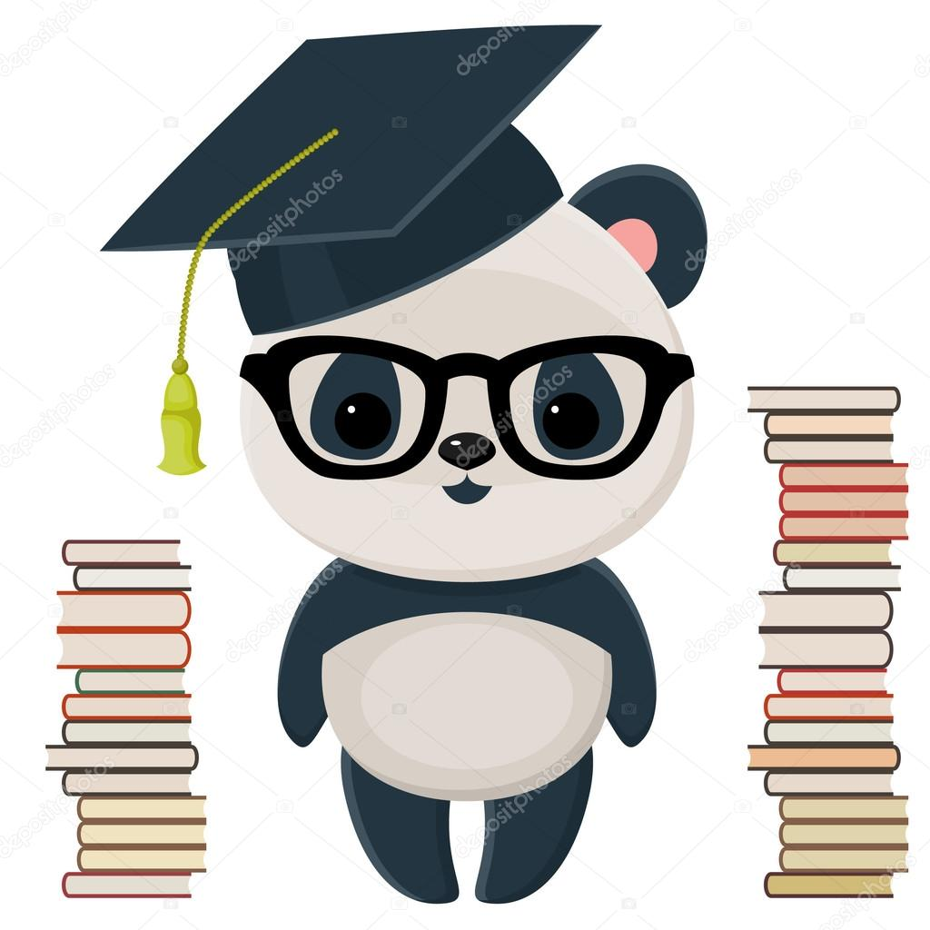 Aislado en blanco panda en un gorro de graduación, en copas, con muchos libros \u2014 Vector de Natalie,art