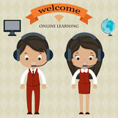 Online learning welcome board — Stock Vector