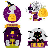 Halloween cute clip-art set — Vettoriale Stock