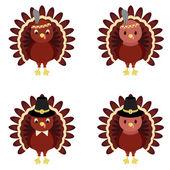 Vector set of Thanksgiving turkeys — Stock Vector