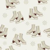 Papier peint Vintage hiver avec patins — Vecteur
