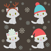Four cute kittens characters in winter holidays time — Stock Vector