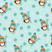 Winter seamless wallpaper with penguins — Stock Vector