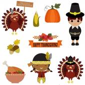 Vector set of Thanksgiving icons — Stock Vector