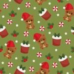 Christmas teddy bear, gift box and candy green seamless wallpape — Stock Vector #58341627