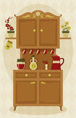 Retro sideboard in the kitchen — Stock Vector