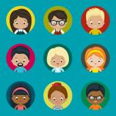 Avatar vector icons set for website. Males and females. — Stock Vector