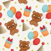 Seamless birthday pattern with teddy bear — Stock Vector