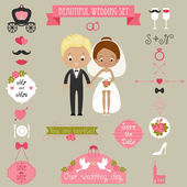 Cute couple and big wedding icons set — Cтоковый вектор