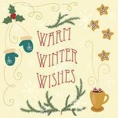 Warm winter wishes. Hand drawn greeting card. Eps 10 — Stock vektor