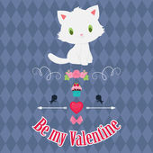 Valentine's Day card with white kitten. — Stock Vector