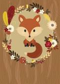 Fox in a floral frame on wooden background — Stock Vector