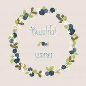 Blueberry summer beautiful wreath — Stock Vector