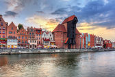 Gdansk at sunset with reflection in Motlawa river — Stock Photo