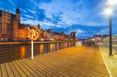 New promenade at Motlawa river in Gdansk — Stock Photo