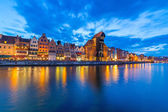 Gdansk at night with reflection in Motlawa river — Foto de Stock