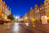Architecture of the Long Lane in Gdansk at night — Stock Photo