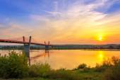 Cable stayed bridge over Vistula river — Foto de Stock