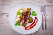 Roasted duck breast with cranberry sauce — Stock Photo