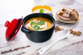 Pumpkin soup with cream — Stock Photo