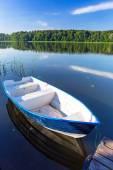 Fishing boats on the masurian lake — Stock Photo