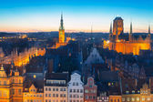 Old town of Gdansk with city hall at night — Stock Photo