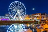 Ferris wheel in the city centre of Gdansk at night — Stock Photo
