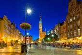 Architecture of the Long Lane in Gdansk at night — Foto Stock