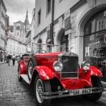Historic Praga car on the street of Prague — Stock Photo #54181965