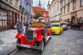 Historic Praga car on the street of Prague — Stock Photo