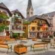 Town square of Hallstatt town, Austria — Stock Photo #54442519