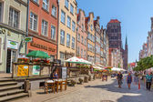 People on the streets of the old town in Gdansk — Stock Photo