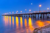 Baltic pier in Gdynia Orlowo at night — Stock Photo