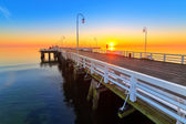 Sunrise at Baltic sea in Sopot, Poland — Stock Photo