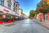 Heroes of Monte Cassino Street in Sopot at dawn — Stock Photo