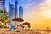 Sun holidays on the beach of Persian Gulf — Foto de Stock