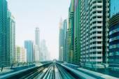 Metro line in Dubai city — Stock Photo