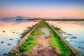 Idyllic sunset over the path in Ireland — Stock Photo
