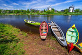 Boats at the river in Ireland — Stock Photo