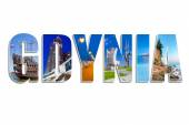 Gdynia sign made by collage of photos — Stock Photo