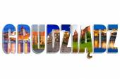 Grudziadz sign made by collage of photos — Stock Photo