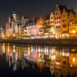 Old town of Gdansk with ancient crane at night — Stock Photo #59913073