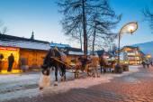 Krupowki street in Zakopane at winter time, Poland — Stock Photo