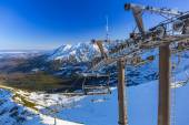 Ski lift on Kasprowy Wierch in Tatra mountains — Stock Photo