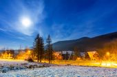 Snowy valley in Tatra mountains at night — Stock Photo