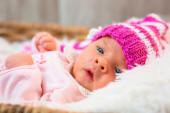 Newborn baby girl portrait — Stock Photo