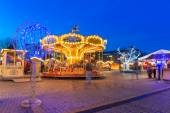 Christmas decorations on the old town of Gdansk at night — Stock Photo