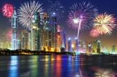 New Years fireworks display in Dubai — Stock Photo
